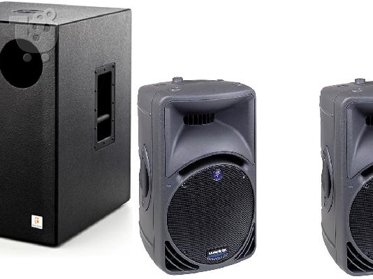 PoulaTo: 4 ηχεία MACKIE SRM 450 και 2 subwoofers THE BOX TA 18 500W