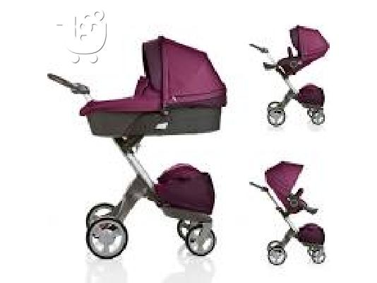 PoulaTo: Purple Xplory Carry Cot Stroller Complete by Stokke